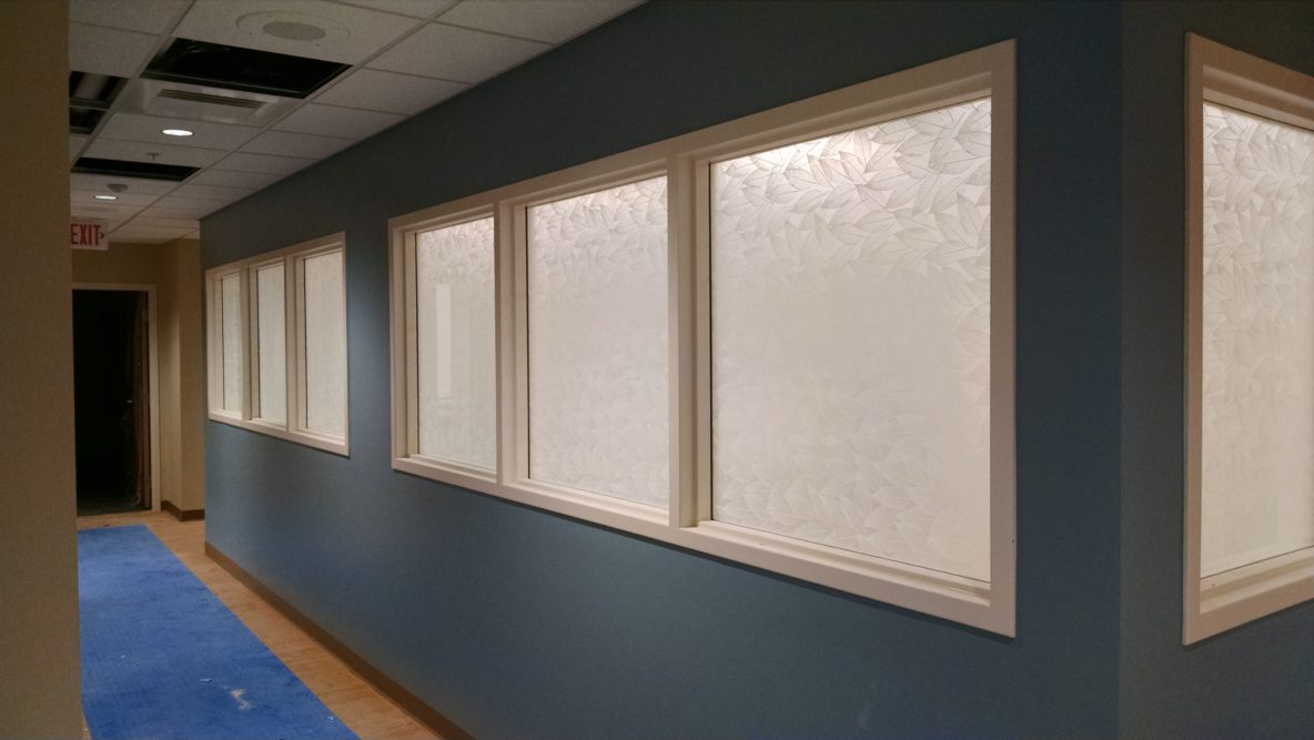 Solyx Dusted Leaf Patterned Window Film by All Season Window Tinting, Inc. - Transform Western Michigan Glass Panels by Retrofitting Decorative Window Films